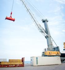 Crane at Aruba Free Zone harbor