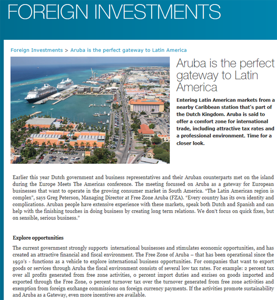 Foreign Investment Publication Aruba