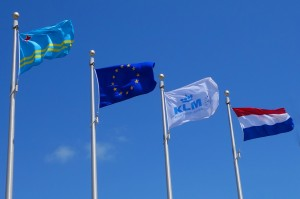 Special flags on airport to welcome KLM